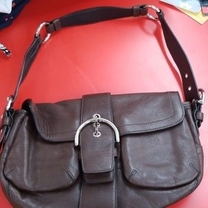 Coach Soho Buckle Flap Dark Brown Leather Purse
